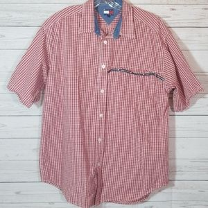 Mens Tommy Jeans Short Sleeve Shirt Button Down XL
